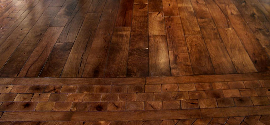 Mesquite Wood Strip Flooring & End-Grain Accent