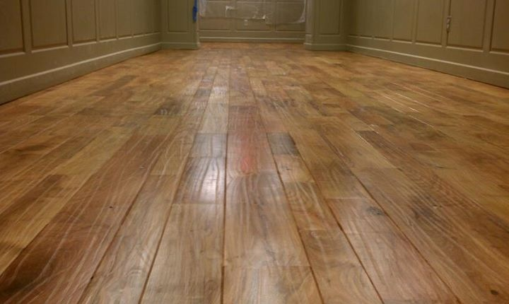 Hand-scraped Mesquite strip flooring